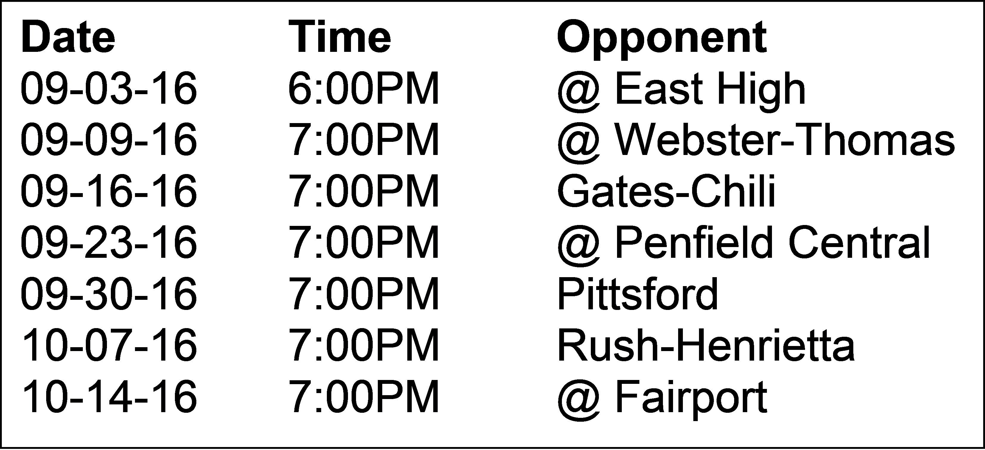 2016 Foorball Schedule
